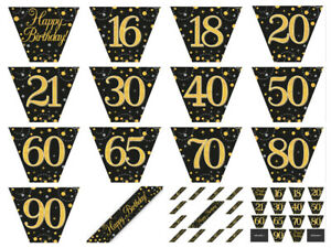 12ft-Black-amp-Gold-Sparkling-Fizz-Metallic-Birthday-Party-BUNTING-Garland-Banner