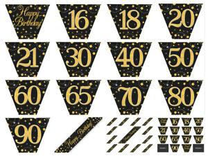 12-ft-environ-3-66-m-Black-amp-Gold-mousseux-Fizz-Metallique-Fete-d-039-anniversaire-Bruant