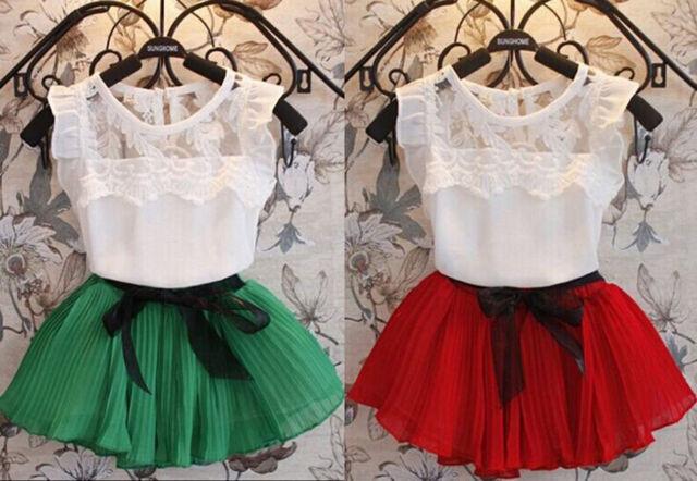 2Pcs Kids Baby Girls Clothing T-Shirt + Skirt Set Summer Tutu Dress Outfits 1-6Y