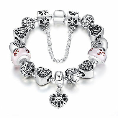 European 925 Silver Beads Charms Bracelets With Safety Chain Love Dangle Jewelry