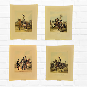 4 Fores's Yeomanry military costumes hand coloured aquatint engravings