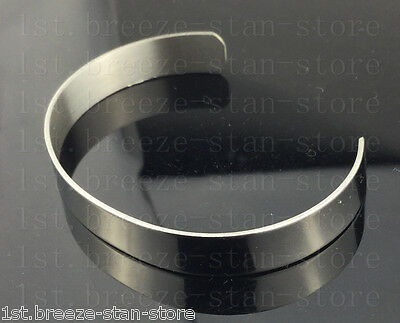 Men's High Polished Silver Tone Solid 316L Stainless Steel Blank Cuff Bangle new