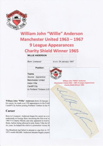 WILLIE ANDERSON MANCHESTER UNITED 19631967 ORIGINAL HAND SIGNED CUTTINGCARD