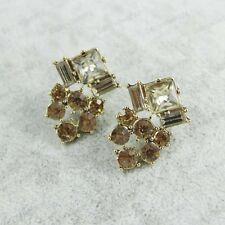 3cm austríaco cristal de topacio ámbar Pendientes Oro Tono glasas Estrás Tachuelas