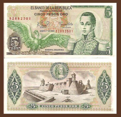 Colombia P406f giant condor // Cartagena Fort 1980 UNC 5 Peso José  Córdoba