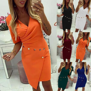 Womens-V-Neck-Bodycon-Mini-Dress-Double-breasted-Blazer-Formal-Office-Dresses