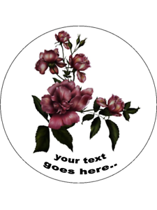 Gothic Floral Flowers personalised wafer or Icing edible Round Cake topper