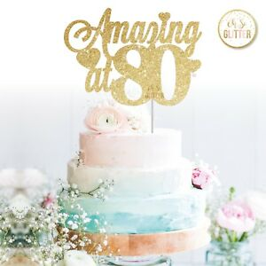 80th cake topper number any age birthday glitter gold ...