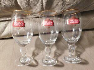 STELLA-ARTOIS-Chalice-Beer-Glasses-Gold-Rim-Belgium-Set-Of-3-Glasses-rc-33-cl