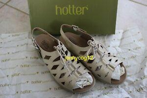 Hotter-Imogen-Leather-Sling-back-Lace-up-Flats-Cream-Summer-Sandals-Size-6-BNIP