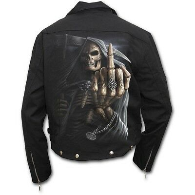 Spiral Ghost Reaper Bomber Jacket with PU Leather Sleeves