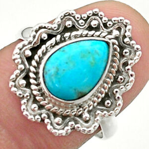 2.61cts Solitaire Blue Arizona Mohave Turquoise 925 Silver Ring Size 7.5 T41490