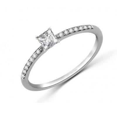 Pave 0.50 Cts Princess Cut Natural Diamonds Engagement Ring In Fine 18Karat Gold