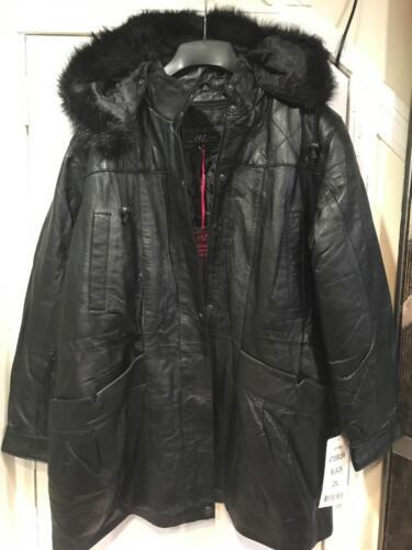 Women/'s Winter 100/% Leather Lambskin Hooded faux fur jacket coat plus XL 2XL 3XL