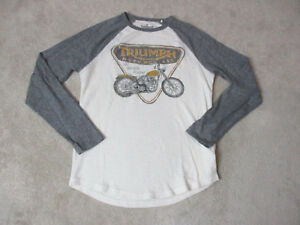 Lucky-Brand-Triumph-Long-Sleeve-Shirt-Adult-Small-White-Gray-Motorcycle-Biker