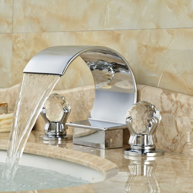 Chrome Brass Waterfall Bathroom Faucet Crystal Glass Handles Vanity ...