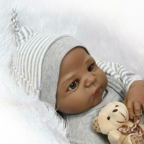 "23/"" Black Reborn Baby Dolls Toddler Boy Full Body Silicone African American Doll"