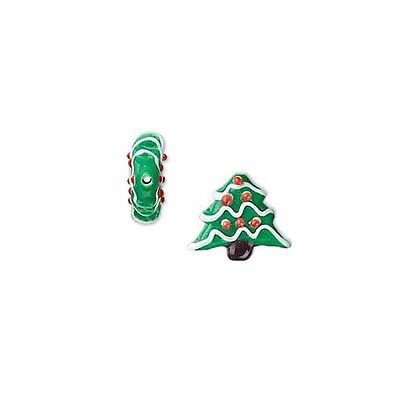 2 Handmade Green 3/4 inch Glass Christmas Tree Lamwork Beads with Red Ornaments