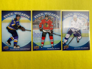 2015-16-Upper-Deck-Series-1-Puck-Wizards-3-Card-Lot-Kane-Stamkos-Tarasen