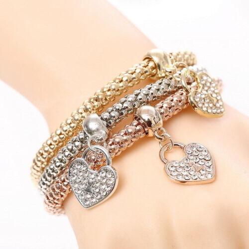 3pcs//Set Fashion Women Crystal Rhinestone Heart Bangle Bracelets Jewelry