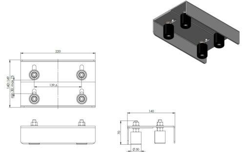 Starre Torführung mit rollen für Zäune Zaunbau D:30mm Tore WZ.PB.121
