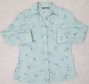 Apt-9-Dress-Shirt-Blue-Long-Sleeve-Womens-Small-Button-Front-Top-Floral-Woman
