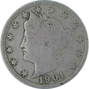 1901 Liberty Head V Nickel 5 Cent Piece VG Very Good 5c US Coin Collectible