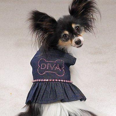 Casual Canine Dog Dress Denim Sundress Diva Rhinestones Xs X Small