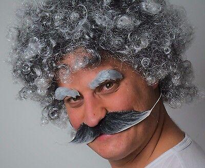 Fancy Dress Wig Men/'s Grey Curly Wig and Grey Droop Moustache Set