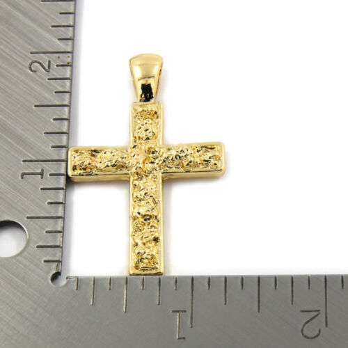 "Men/'s 14k Gold Plated High Fashion 2 pc Nugget /& Cross 3mm 27/"" /& 30/"" Cuban Chain"