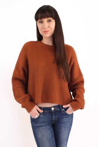 Oversized Ribbed Cropped SweaterLong Sleeve Crew S M L Cotton Candy LA CS8526