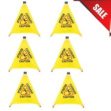 6 Pack 20 Pop Up Restaurant Caution Wet Floor Yellow Folding Sign Commercial