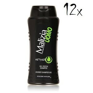 12x-MALIZIA-UOMO-Vetyver-Duschgel-amp-Shampoo-2in1-250-ml-Duschcreme-Shampoo