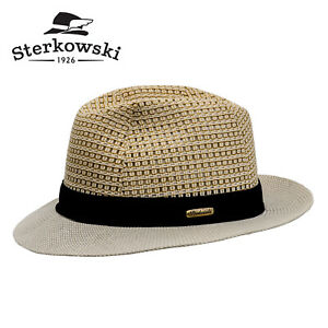 Sterkowski SUGARCANE Linen Summer Fedora Hat Sun Beach Trilby Party Safari