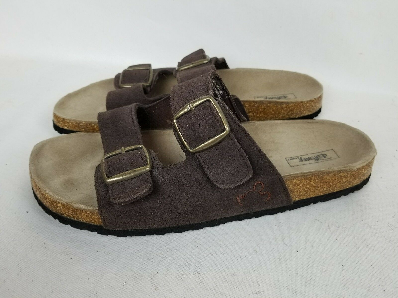 MENS DISNEY COMFORT SLIP-ON BROWN SUEDE LEATHER SANDALS WORK SHOES SIZE 12