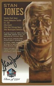 Stan Jones Chicago Bears Football Hall Of Fame Autographed Bust Card