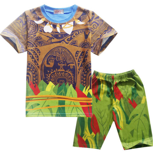 Pant Costume Cosplay Printed Pyjamas Moana Maui Baby Boys Short Sleeve T-Shirt