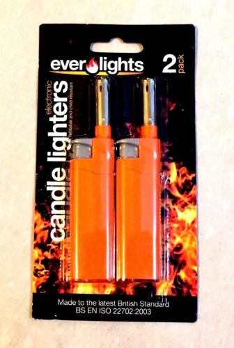 PACK OF 2 REFILLABLE GAS LIGHTERS - CANDLES ,KITCHEN , BBQ ,CAMPING & COOKER SUP
