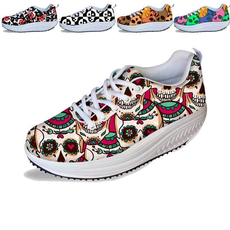 Cool Skull Ladies Comfortable Shape Ups Fitness Sneakers Walking shoes Trainers