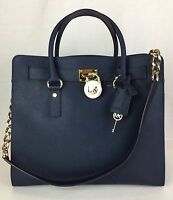 Michael Kors Hamilton Large North South Tote Purse Bag Navy 30s2ghmt3l $358
