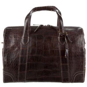 fd93c829dbdb Coach Chocolate Brown Men s Weekender Travel Duffle Bag Crocodile ...