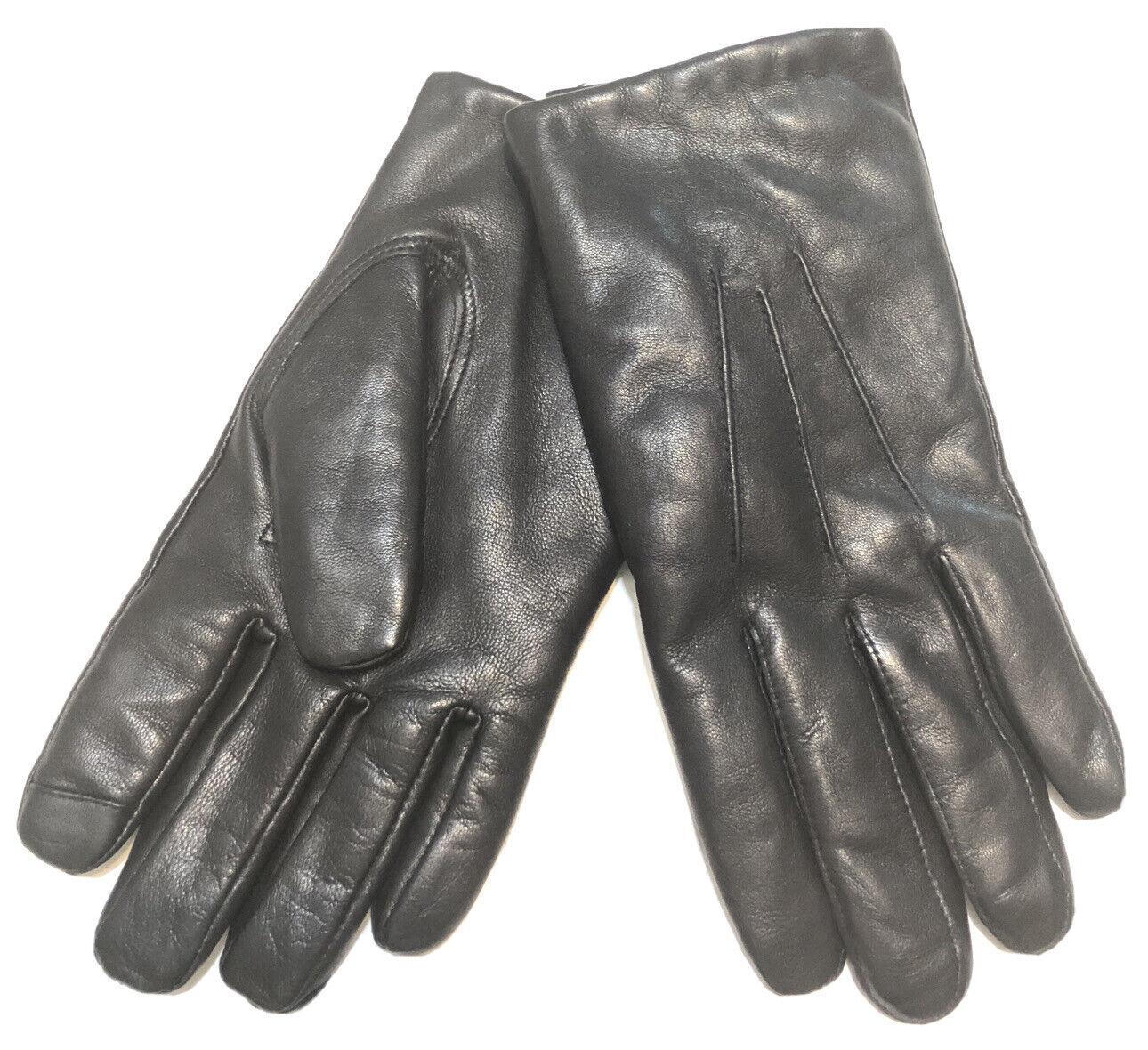 Nordstrom Men's Shop Fleece Lined Leather Gloves Black S/M NWT MSRP
