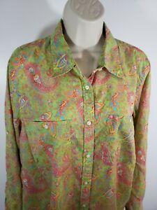 Paisley-Print-Button-up-Blouse-Size-1X-Lauren-Ralph-Lauren-2302