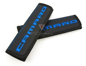 Car-Seat-Belt-Shoulder-Pads-Covers-for-Chevrolet-Camaro-Blue-Embroidery-Logo