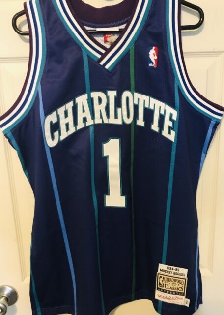 detailed pictures 7052a b7e9b MUGGSY BOGUES, CHARLOTTE HORNETS, MITCHELL AND NESS AUTHENTIC JERSEY 44L NWT