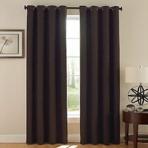 2 Brown Grommet Panel Window Curtain Lined 99 Blackout