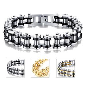 Image Is Loading Mens Stainless Steel Motorcycle Bike Chain Bracelet Bangle