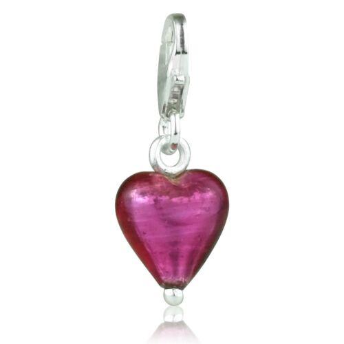 Rosa De Cristal corazón Sterling Pulsera De Plata Con Clip De Langosta capturas encanto