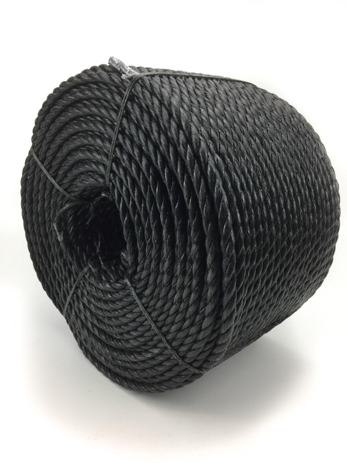 Schwarz 3 Stränge Polypropylen Polypropylen Polypropylen Poly Seil 8mm,10mm And 12mm Preiswert Nylon cda927