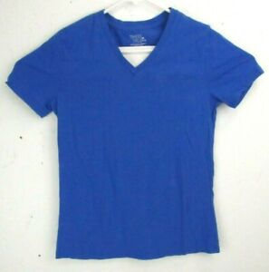 Time-and-Tru-Womens-V-Neck-Tee-Shirt-Top-Size-Medium-Blue-Short-Sleeve